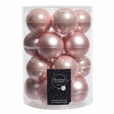 100x oud roze kerstversiering kerstballen glas 6 cm
