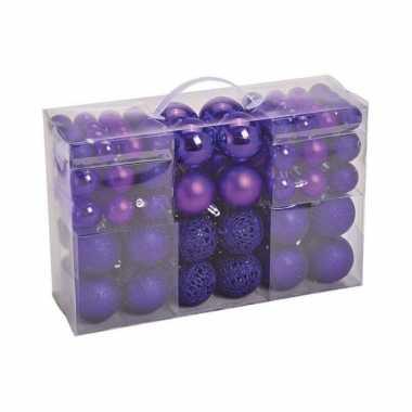 100x paarse kunststof kerstballen 3, 4 en 6 cm