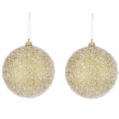 10x gouden kunststof kerstballen met witte sneeuw afwerking 8 cm
