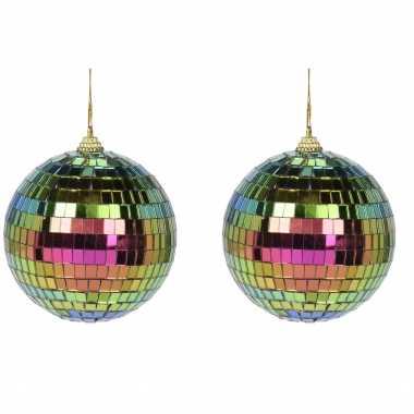 10x regenboog disco kerstballen discoballen/discobollen foam/glas 8 cm