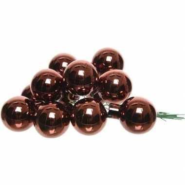 10x roodbruine mini kerstballen kerststukje stekers 2 cm glans