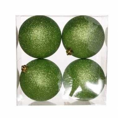 12x appelgroene kerstballen 10 cm glitter kunststof/plastic kerstversiering