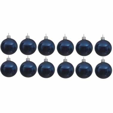 12x donkerblauwe kerstballen 10 cm glanzende glas kerstversiering