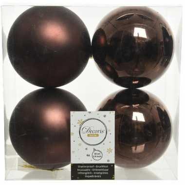 12x donkerbruine kerstballen 10 cm kunststof mat/glans