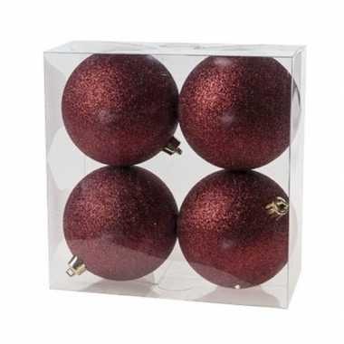 12x donkerrode kerstballen 10 cm glitter kunststof/plastic kerstversiering