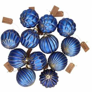 12x glazen kerstballen blauw met goud 6 cm