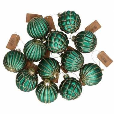 12x glazen kerstballen emerald groen met goud 6 cm