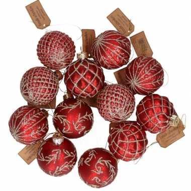 12x glazen kerstballen rood met goud 6 cm