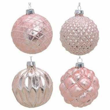 12x glazen kerstballen roze met goud 6 cm