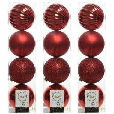 12x kerst rode kerstballen 10 cm glanzende/matte/glitter kunststof/plastic kerstversiering