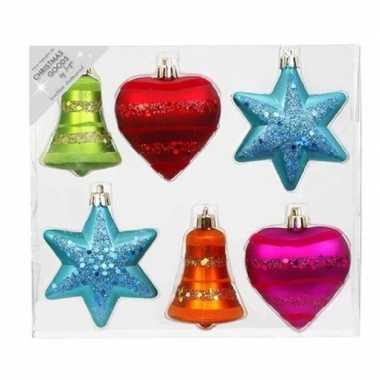 12x kunststof kersthangers/kerstballen figuurtjes gekleurd 9 cm