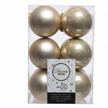 12x licht parel/champagne kerstballen 6 cm glanzende/matte kunststof/