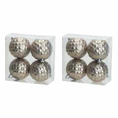 12x luxe zilveren kunststof kerstballen 8 cm kerstboomversiering