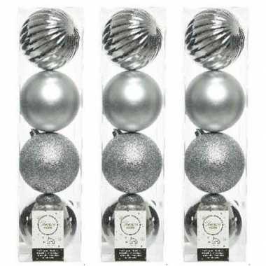 12x zilveren kerstballen 10 cm glanzende/matte/glitter kunststof/plastic kerstversiering