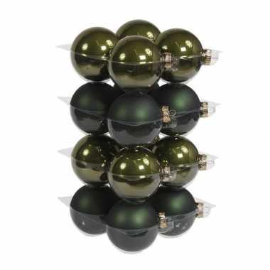 16x donkergroene kerstballen 8 cm glas kerstversiering combi