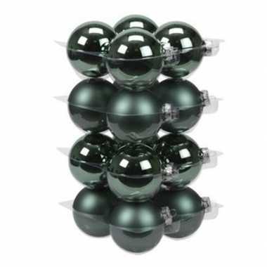 16x emerald groene kerstballen 8 cm glas kerstversiering