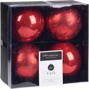 16x kerstboomversiering luxe kunststof kerstballen rood 10 cm