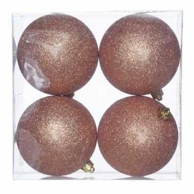 16x koperen kerstballen 10 cm glitter kunststof/plastic kerstversiering