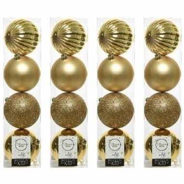 16x licht gouden kerstballen 10 cm glanzende/matte/glitter kunststof/plastic kerstversiering