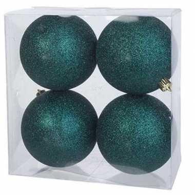 16x petrol blauwe kerstballen 10 cm glitter kunststof/plastic kerstversiering