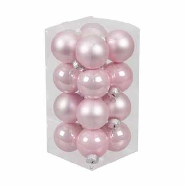 16x roze kleine glazen kerstballen 3,5 cm mat/glans