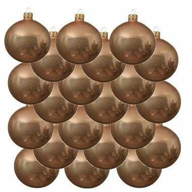 18x donker parel/champagne kerstballen 8 cm glanzende glas kerstversiering