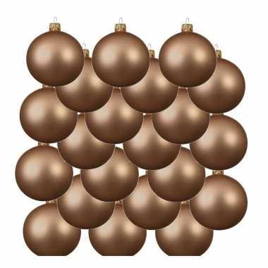 18x donker parel/champagne kerstballen 8 cm matte glas kerstversiering