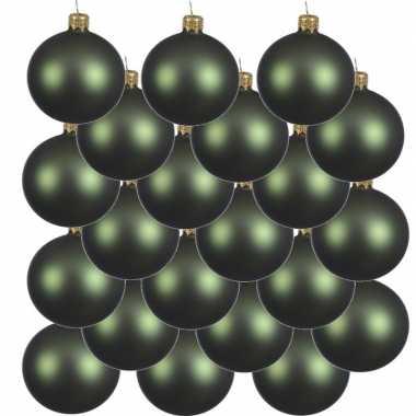 18x donkergroene kerstballen 6 cm matte glas kerstversiering