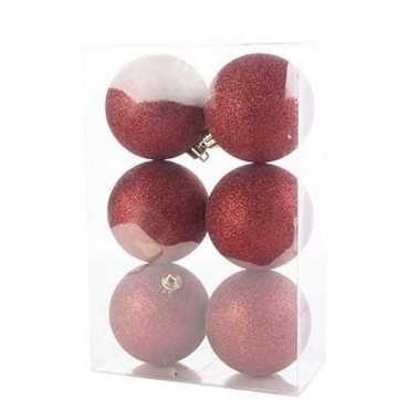 18x donkerrode kerstballen 8 cm glitter kunststof/plastic kerstversiering