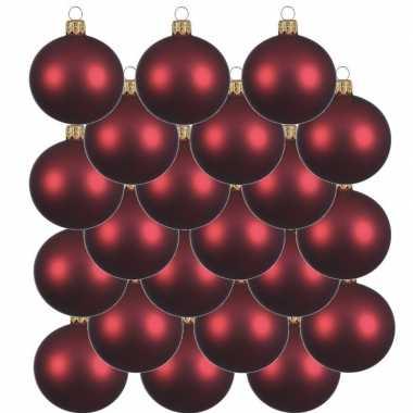 18x donkerrode kerstballen 8 cm matte glas kerstversiering