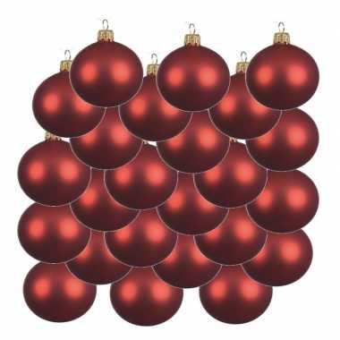 18x kerst rode kerstballen 8 cm matte glas kerstversiering
