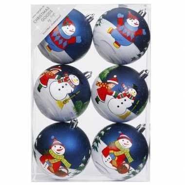 18x kerstballen blauw met print 8 cm voor kinderen