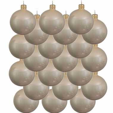 18x licht parel/champagne kerstballen 8 cm glanzende glas kerstversiering
