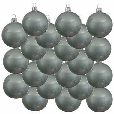 18x mintgroene kerstballen 8 cm glanzende glas kerstversiering