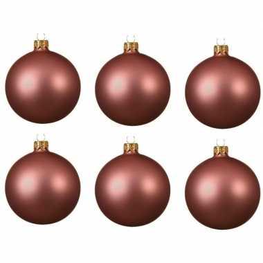 18x oud roze kerstballen 8 cm matte glas kerstversiering