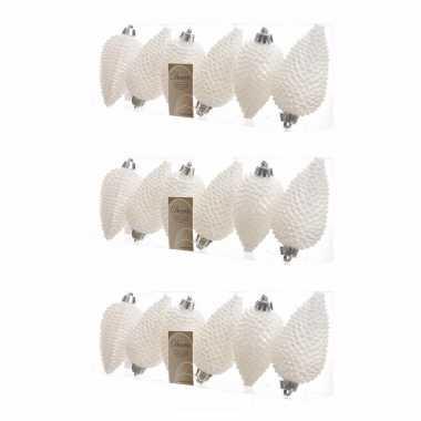18x parelmoer witte kerstballen 8 cm glitter kunststof/plastic kerstv