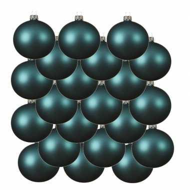 18x turkoois blauwe kerstballen 8 cm matte glas kerstversiering