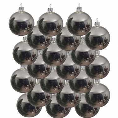 18x zilveren kerstballen 8 cm glanzende glas kerstversiering
