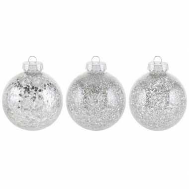 18x zilveren kerstballen 8 cm glitters kunststof kerstversiering
