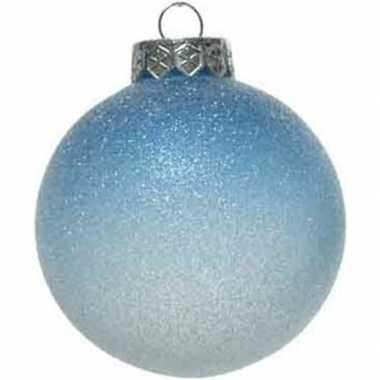 1x blauwe/witte ombre kerstballen 8 cm glitter kunststof kerstversiering