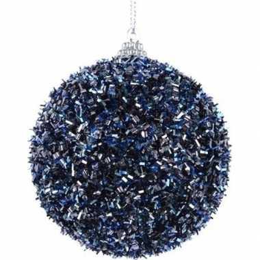 1x donkerblauwe kerstballen 8 cm met folie strookjes kunststof kerstversiering