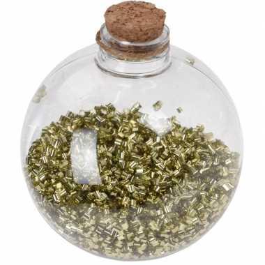 1x doorzichtige fles kerstballen 8 cm glitter goud kunststof kerstversiering