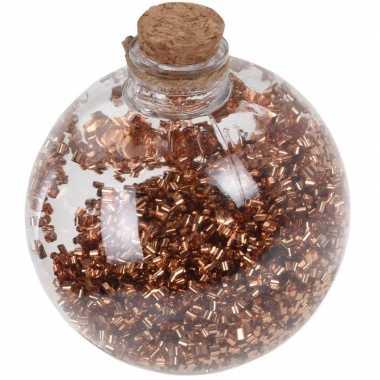 1x doorzichtige fles kerstballen 8 cm glitter koper kunststof kerstversiering