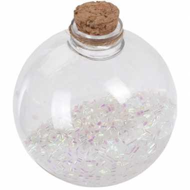 1x doorzichtige fles kerstballen 8 cm glitter wit kunststof kerstversiering
