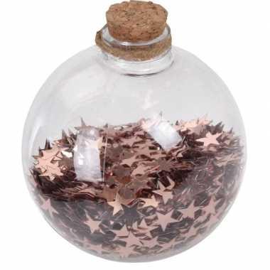 1x doorzichtige fles kerstballen 8 cm sterretjes koper kunststof kerstversiering