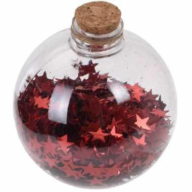 1x doorzichtige fles kerstballen 8 cm sterretjes rood kunststof kerstversiering