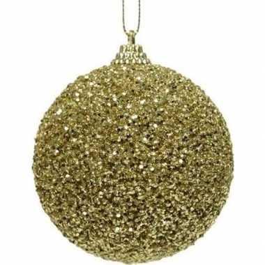 1x gouden kerstballen 8 cm glitters/kraaltjes kunststof kerstversieri