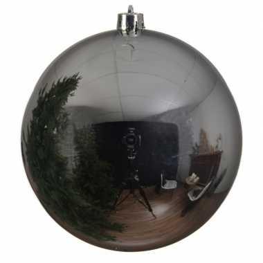 1x grote zilveren kerstballen van 14 cm glans van kunststof