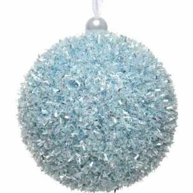 1x ijsblauwe kerstballen 8 cm glitters/sneeuwballen kunststof kerstve