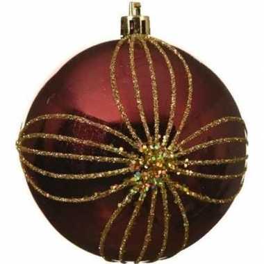 1x kerst rode kerstballen 8 cm goud glitter patroon kunststof kerstve